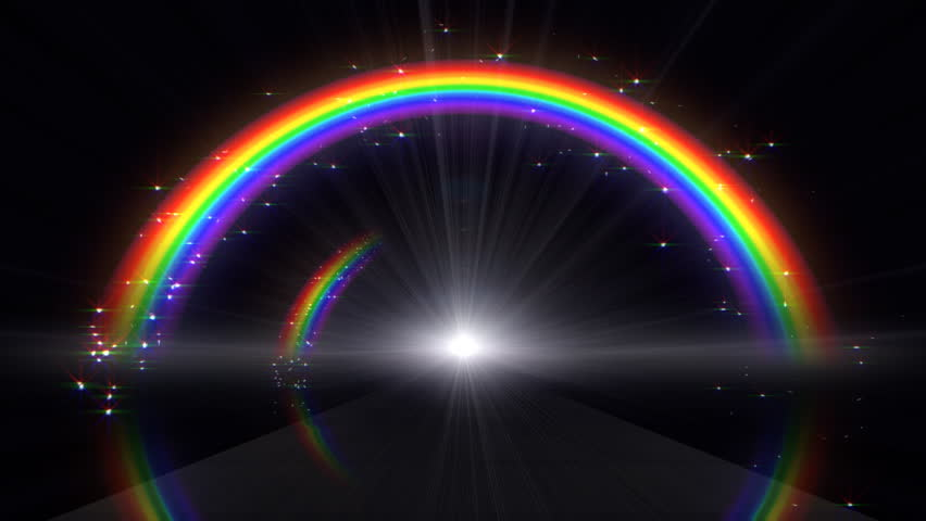 Rainbow In Black Background Stock Footage Video 100 Royalty Free