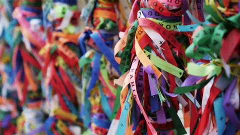 Bonfim Ribbons: 'Brazilian Wish Ribbons' tied onto the railings of a church in Salvador, Brazil. Also known as 'Fitas do Senhor do Bonfim da Bahia', the ribbons are considered good luck charms.