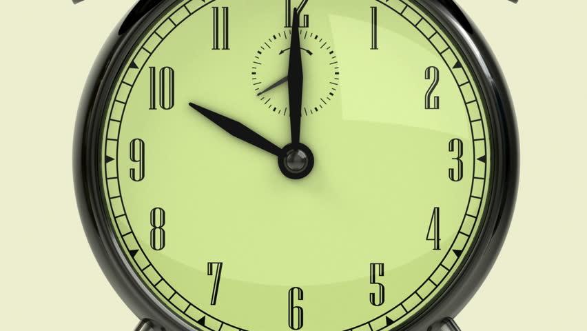 Time management concept. Arrow and three retro alarm clocks. | Shutterstock HD Video #690730