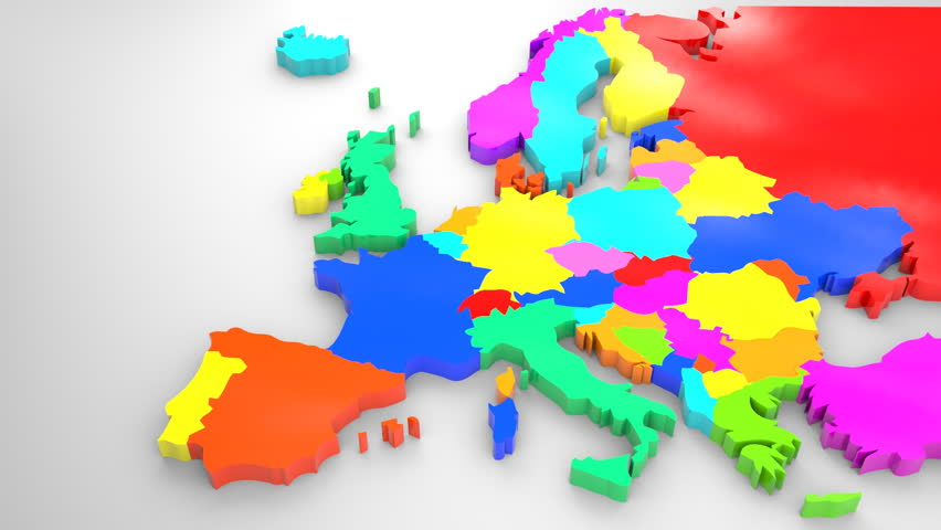Colorful Europe map, 2014 political distribution (animated)