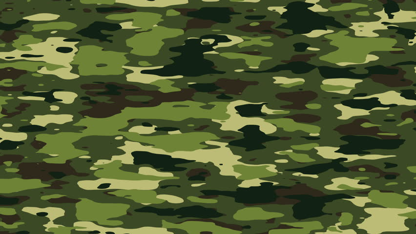Camouflage pattern background loop in jungle/forest camo colors: khaki, green. Evolving background animation. In 4K ultra HD and smaller sizes.