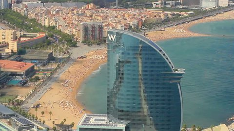 BARCELONA, SPAIN, AUGUST 2013 Aerial View of the W hotel in Barcelona, Spain.