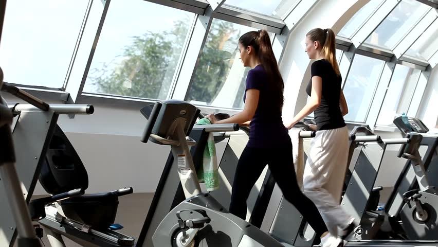 Bikini woman on treadmill video