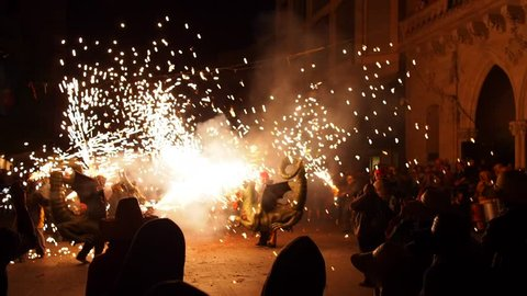 TERRASSA, SPAIN - JUNE 28, 2013: Dragon Dance on Festa Mayor de Terrassa 2013. Big Catalan Party with many Traditional Parades and Shows.