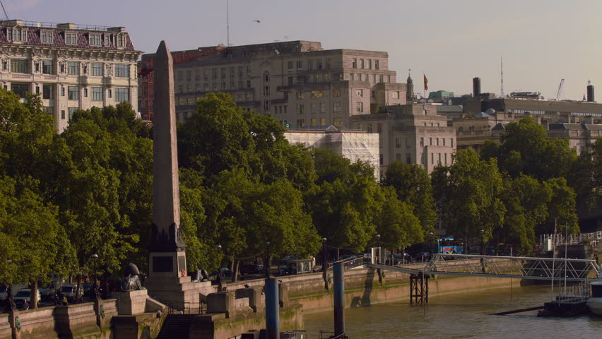 Cleopatra's needle on the River Thames embankment in London. 4K