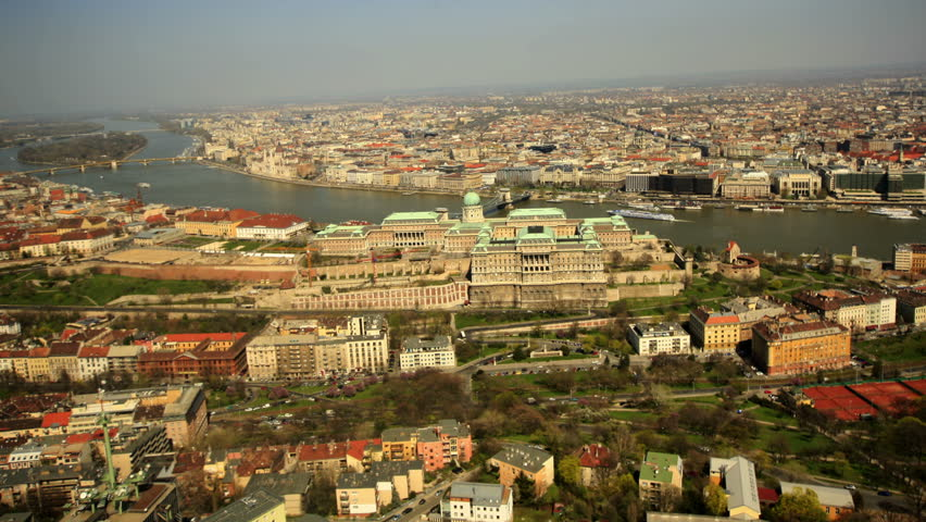 BUDAPEST, APRIL 2014 Aerial view over Buda Catle in Budapest, Hungary. | Shutterstock HD Video #7043626