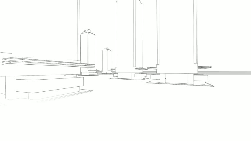 Modern hotel room kig size bed animation illustration outline abstract architecture background blueprint house plan with sketch of city animated in background hd malvernweather Images