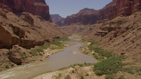 CIRCA 2010s - Fast low aerial over the Colorado River in the Grand Canyon.