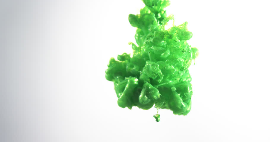 Green Ink Over White (ULTRA HD, UHD, 4K). Green Ink Flowing Through Water In Slow Motion. Green Ink On White (ALPHA MODE) Shot On RED
