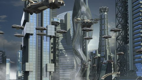 Futuristic cityscape with metallic skyscrapers and hoovering aircrafts for science fiction or fantasy animated backgrounds.