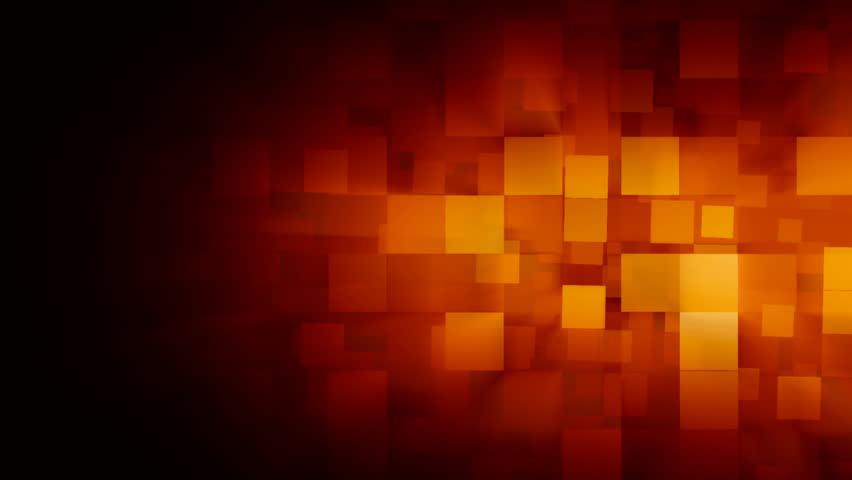 Orange motion background with animated squares.