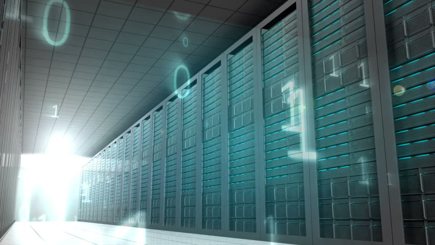 Digital animation of Binary code in server room | Shutterstock HD Video #7264126