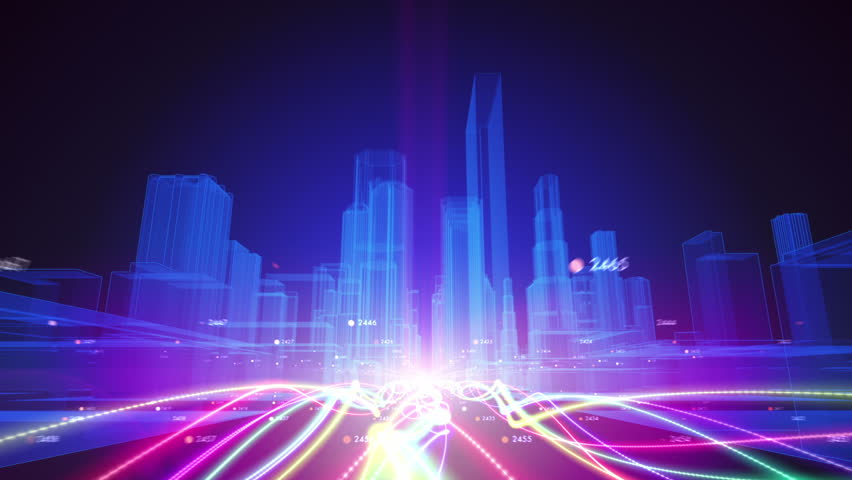 Abstract Animation Of A Camera Moving Among Wireframe City