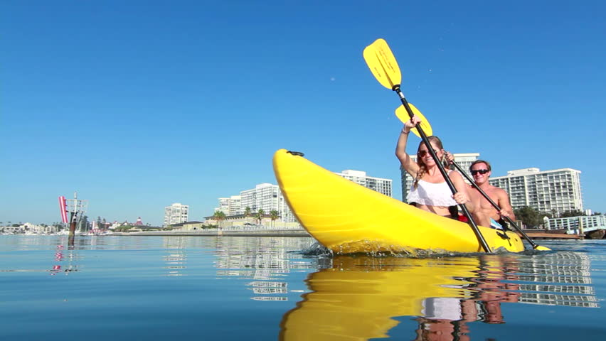 Young Happy Couple Kayaking In Ocean, Beach Lifestyle HD