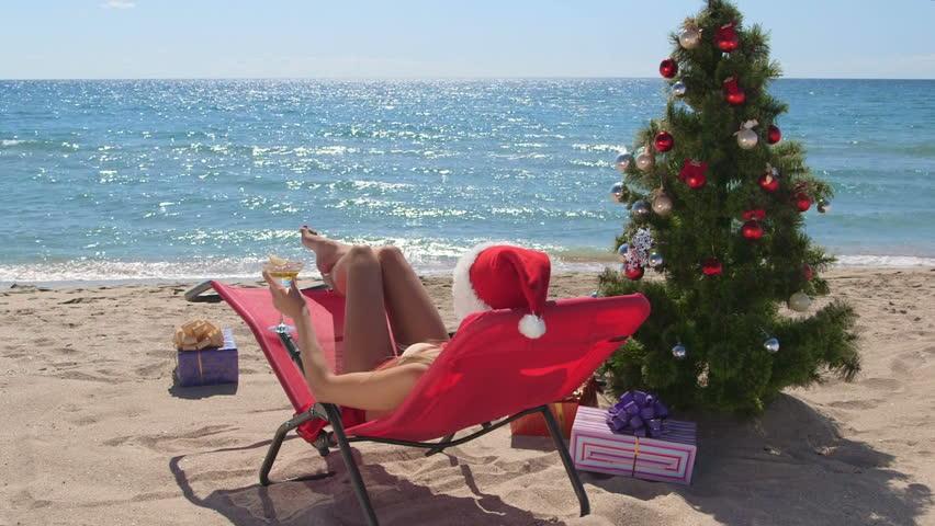 Female Bikini Santa Christmas Holiday Destination On A Warm Beach ...