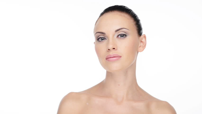 Calm Face Of Young Adult Caucasian Woman With Health Clean Skin Looking At Camera