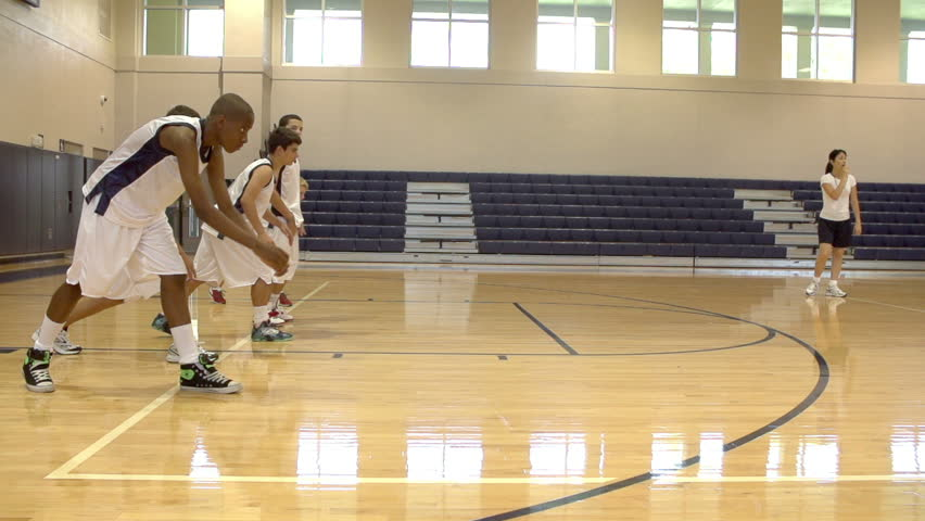 Slow Motion Sequence Of High School Students Playing Dodge Ball