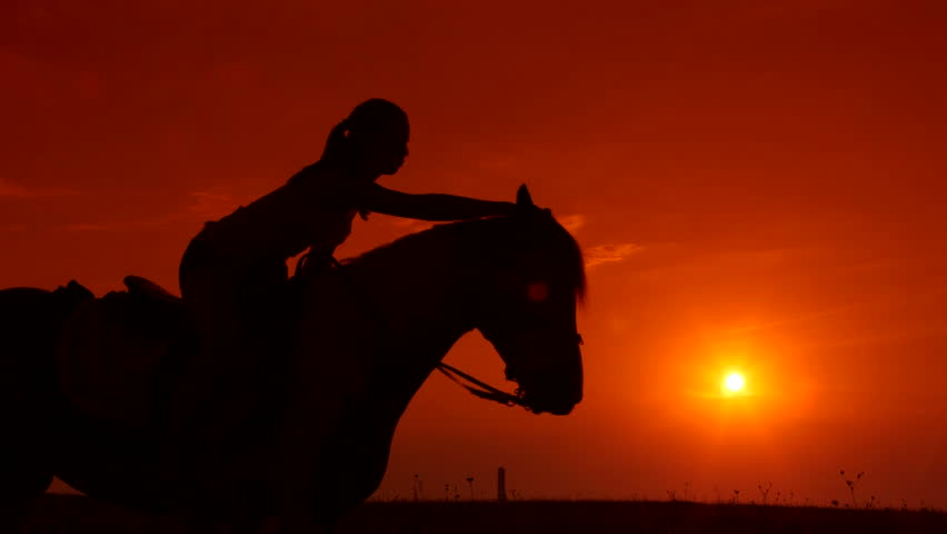 Horseback Riding Silhouette Of Girl Stock Footage Video -3724