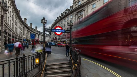 4k Ultra HD hyperlapse of piccadilly circus underground station in London