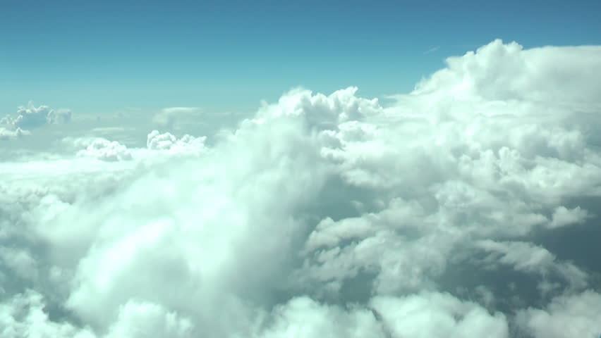 Flying through the clouds. Crew view.