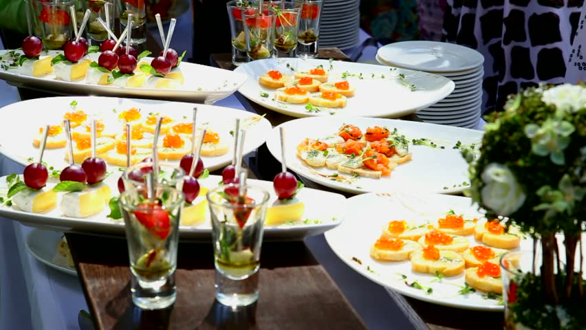 Assortment Of Desserts On Catering Buffet Restaurant