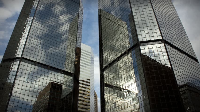 (1185) City Skyscrapers Urban Office Buildings Architecture Time-lapse Clouds LOOP.  #740428
