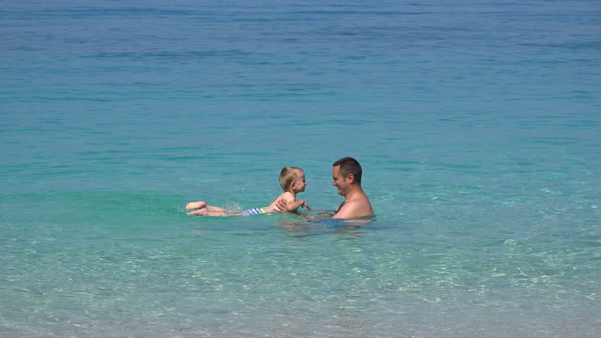 Dad Teaching Toddler To Swim Father S Care Concept 4k Stock Video Clip
