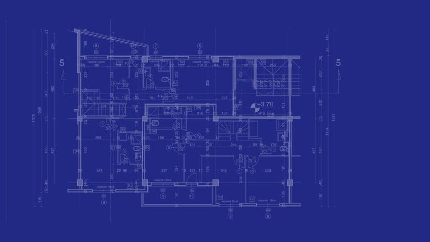 Schematic blueprint fly through numbers and digital maps high abstract architecture background blueprint house plan with sketch of city animated in background hd malvernweather Choice Image