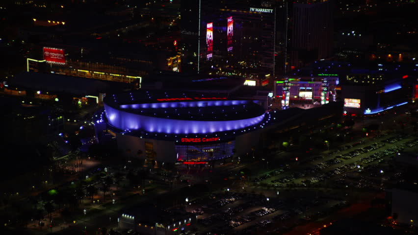 LOS ANGELES JULY 2014 - Aerial view of Los Angeles Staples Stadium, California at night. The arena is home to the Los Angeles Lakers. LOS ANGELES, USA 1 JULY 2014 EDITORIAL
