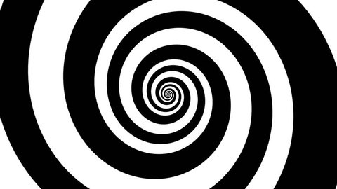 Abstract background with endless black and white spiral, hypno spiral, black and white hypnotic spiral.