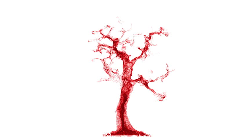 Conceptual art of blood cells traveling through a vein. Growing like a red liquid particle tree isolated on white background