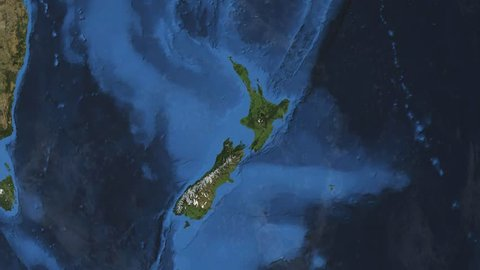 New Zealand. 3d earth in space - zoom in on New Zealand contoured.
