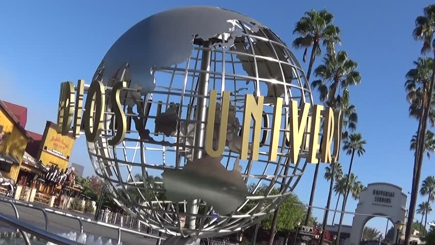 UNIVERSAL CITY CA - OCTOBER 18, 2014: the spinning globe outside Universal Studios Hollywood October 18, 2014.