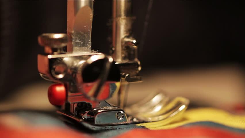 close up on sewing machine