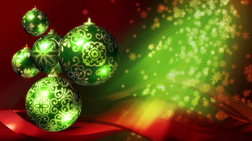 Christmas Background Loop Rotating Decorations And Falling Snowflakes Red Green In 4k Ultra Hd 1080p Smaller Sizes