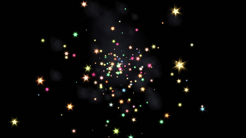 Fireworks Explosion - 07 - Animation FX pyrotechnic blast of colorful sparkling confetti stars for event, party, holiday back, opening, intro, transition, revealer... Blend as Add, Screen, Lighten...