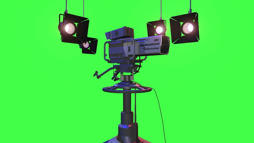 Green Screen Animation of a High Definition Studio Camera turning and the viewer moving into the lens
