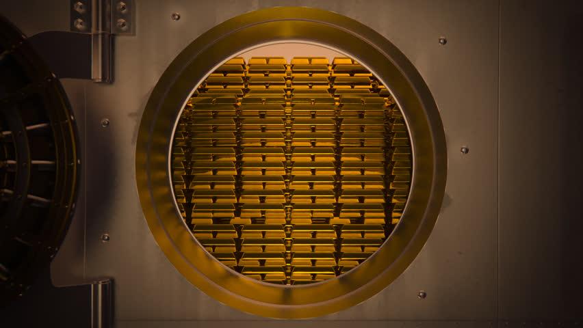 01844 Opening Safe Door Of Bank Vault With Golden Ingots Inside
