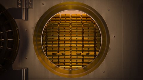 01844 Opening Safe Door Of Bank Vault With Golden Ingots Inside