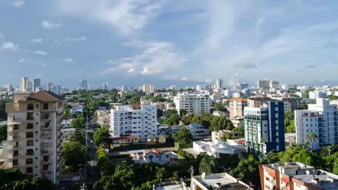 Aerial view of Santo Domingo city timelapse with sky and clouds in Dominican Republic