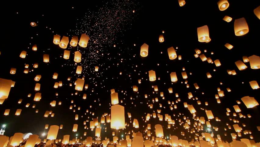 Floating lanterns in Yee Peng Festival, Loy Krathong celebration in Chiangmai, Thailand. Uprisen wide angle view. | Shutterstock HD Video #7726561