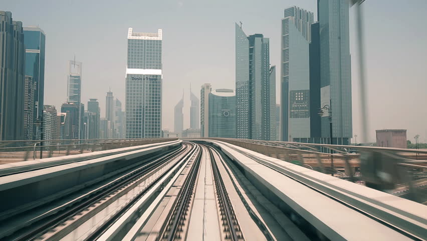 DUBAI, arriving in the downtown - Journey on the modern driverless - Dubai elevated Rail Metro System | Shutterstock HD Video #7741546