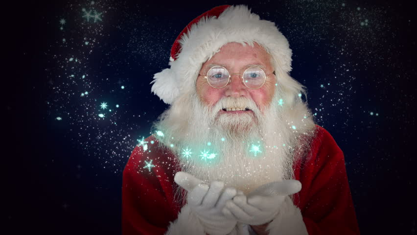 Digital animation of santa blowing glitter forming christmas digital animation of santa blowing glitter forming christmas greeting hd stock footage clip m4hsunfo Images
