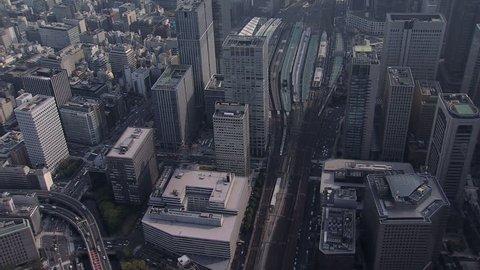 Aerial Metropolis view Tokyo City National Rail Station TGV Marunouchi business district Expressway Chiyoda Japan