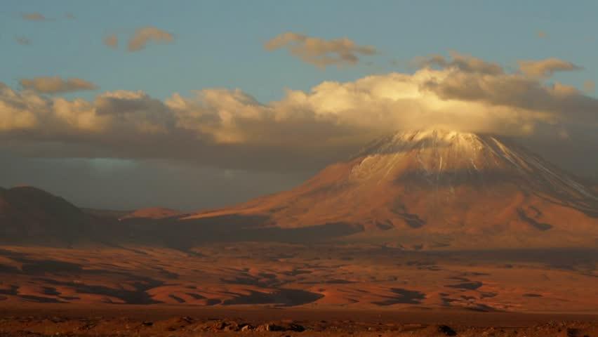 Licancabur Vulcano at Atacama Desert in Chile. .The volcano dominates the landscape of the Salar (is the largest salt flat in Chile) of Atacama area. Beautiful landscape. High Definition video.
