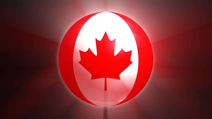 Canadian flag spinning globe with shining lights - loop