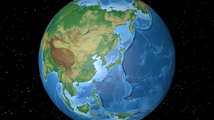 Asia Physical World Globe Continents Asia Outlined On Black - Globe elevation
