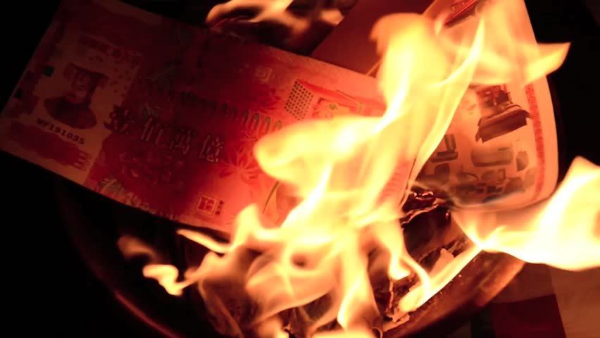 Phuket, THAILAND-FEB 10 :: Chinese New Year - people burnt fake money for ancestor Beliefs of the Chinese people on February 10, 2014 in Phuket, Thailand | Shutterstock HD Video #7824736