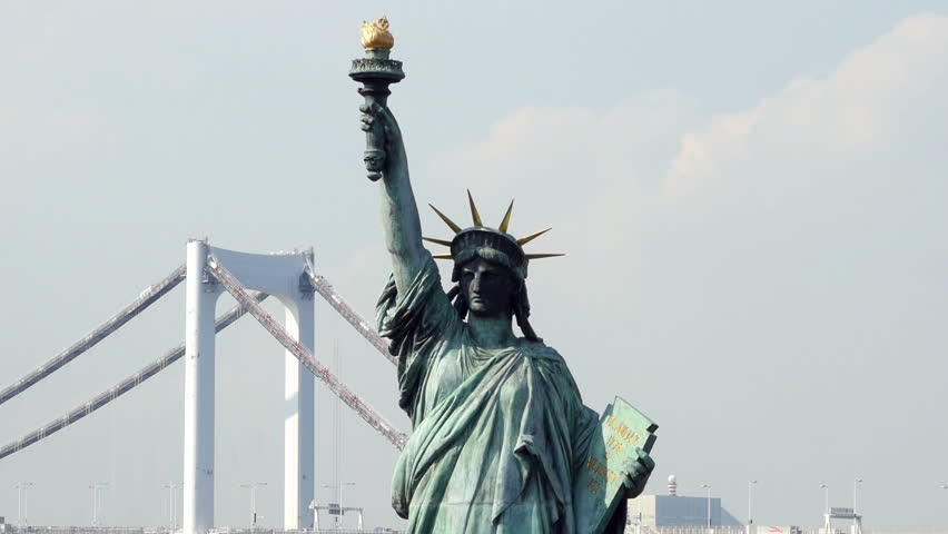 Tokyo Japan - Circa September 2014 Replica Statue of Liberty with Peace Bridge in the Background - Tokyo Japan | Shutterstock HD Video #7830946