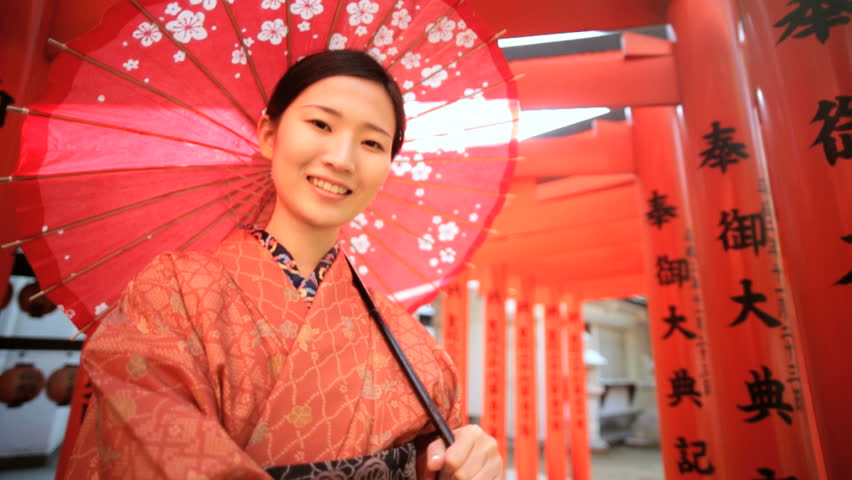 Portrait Asian Japanese female Japan traditional costume kimono parasol Buddhist temple travel tourism advertisement slow motion | Shutterstock HD Video #7836121